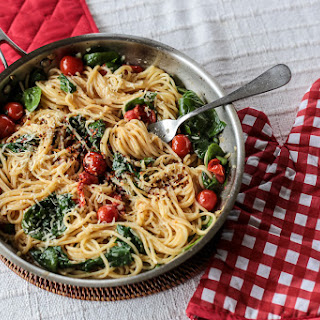 Cherry Tomato, Basil, Spinach and Parmesan Pasta.