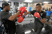 Former WBF Africa champion and Johannesburg-based Emmany Kalombo from the Democratic Republic of Congo with his assistant trainer Andson Kazembe preparing for his fight against Ghanaian Daniel Lartey next Monday.