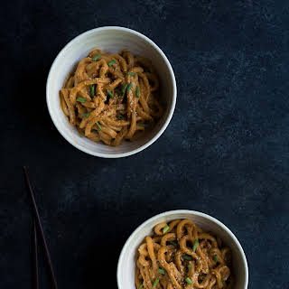 Spicy Cashew Butter Udon Noodles.