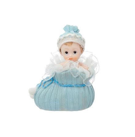 Tårtdekoration - Bebis i sko, blå