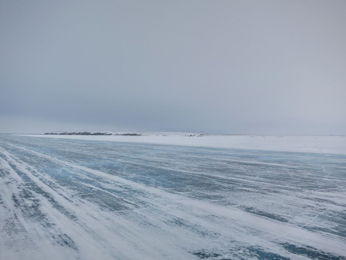 Empty ice road from Inuvik