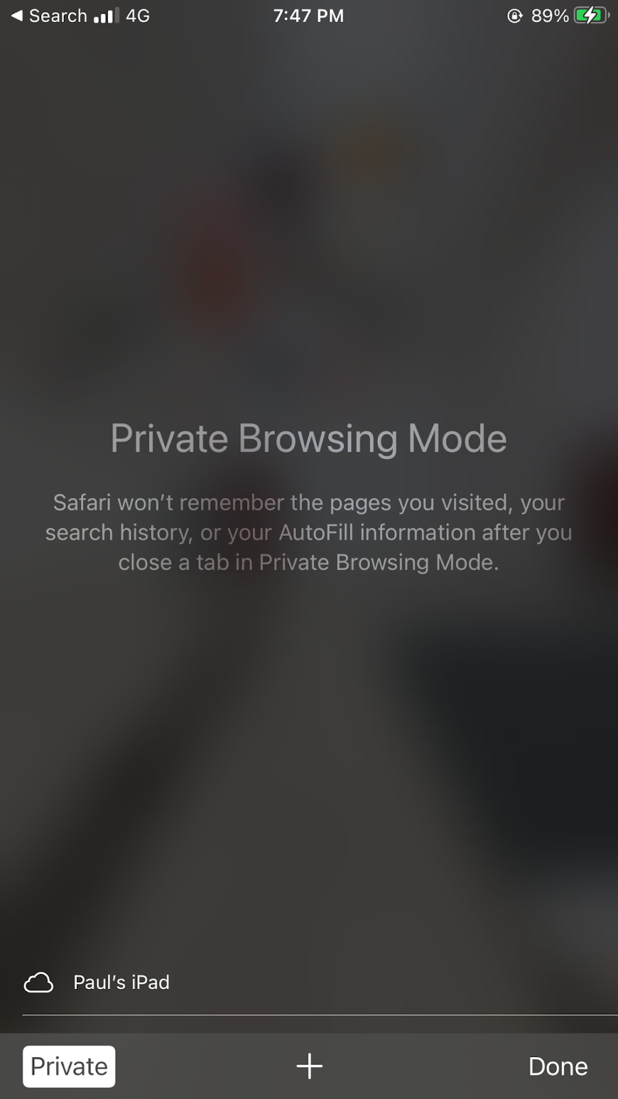 iPhone private browsing