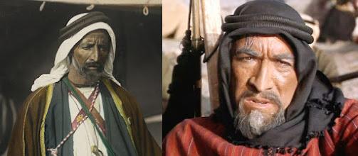 Photo: O verdadeiro Auda Abu Tayi, líder dos Howeitat e Anthony Quinn com seu nariz postiço no papel de Auda.