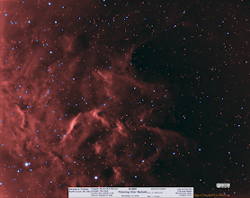 """Photo: I wanted to organize my backlogs of images a bit more. In reality I've been struggling with no just a huge pile of images to process but some mechanical issues with the mount.  Here's a short stop off on the """"Flaming Star Nebula"""" IC 405. I shot it in 2x2 bin and think I will stick with that for both guiding and imaging as it smooths out some guiding issues and brings some stability to unattended operations overnight. This was a simple trial at 2 subs of 10m each. :D"""