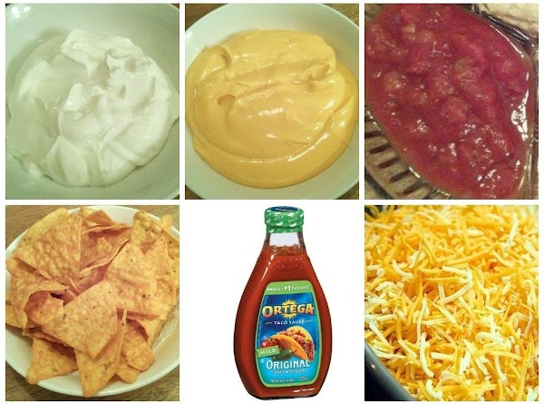 Also, put desired amounts of sour cream, nacho cheese, salsa, mild ortega sauce, shredded...