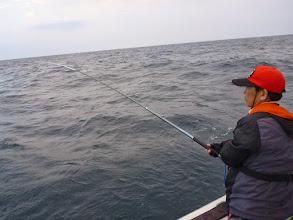 "Photo: 今年初乗船の""イワオさん""!  ずっとシケで流され今日が初釣りです! ・・・真鯛シーズンもほぼ終わりですが。"