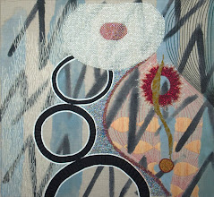 "Photo: Faith and Doubt 13""x14""  Hand embroidery, beadwork and acrylic paint on linen. Light gray wooden frame, 1.25'' deep.  c. Karin Birch 2006"