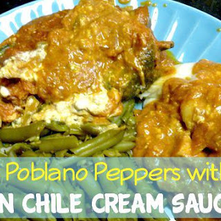 Stuffed Poblano Peppers with Pumpkin Chile Cream Sauce!