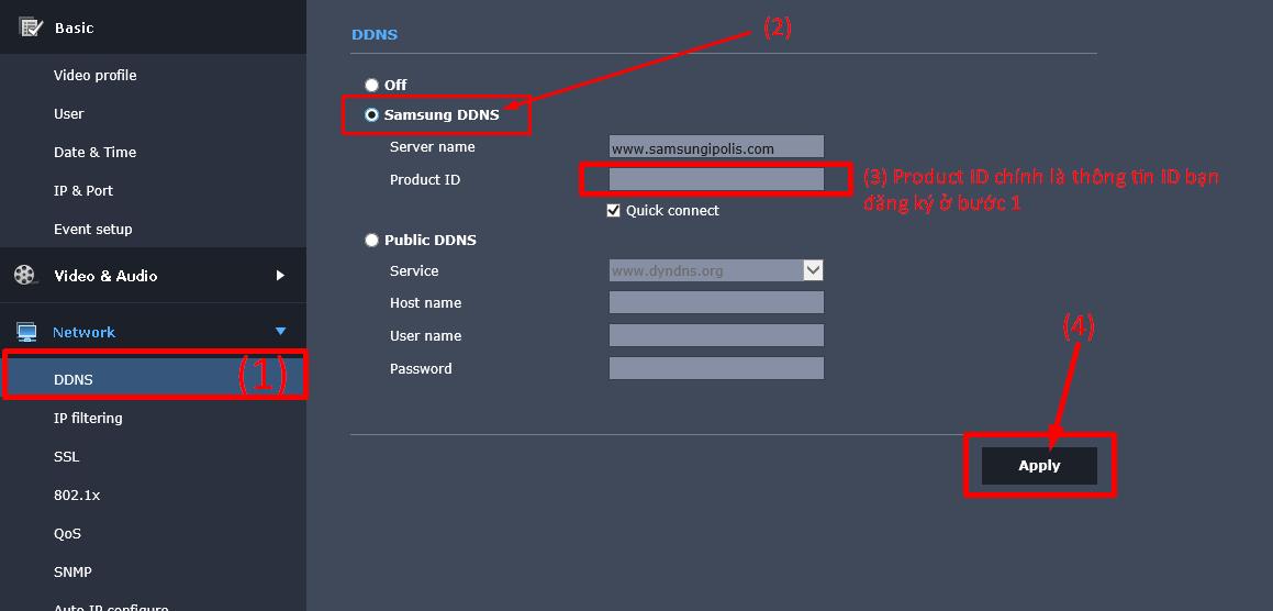 Cài đặt tên miền Samsung DDNS cho đầu ghi Samsung