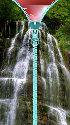 瀑布锁屏。拉链。