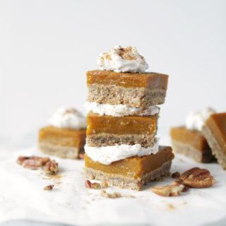 Pumpkin Pie Bars With Pecan Ginger Crust.