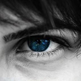 eye by Sorin Rizu - People Fine Art ( girl, black and white, blue, hair, eye )
