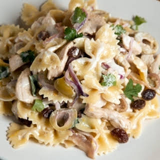 Mario Batali's Chicken Pasta Salad with Green Olives and Raisins.