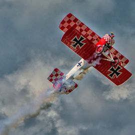 Red Baron Ascending by Joe Saladino - Transportation Airplanes ( airshow, airplane, smoke, biplane, red baron )