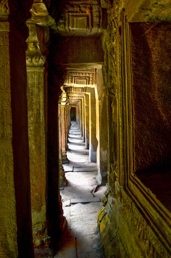 cambodia-angkor-temple-hallway.jpg - Gold leaf is still seen in the temples of Angkor Wat.