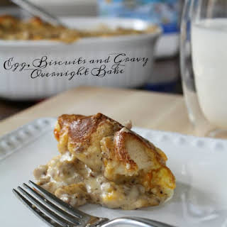 Egg, Biscuits, and Gravy Overnight Bake - Hearty Breakfast Casserole.