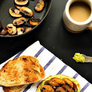 Smashed Avocado & Sautéed Mushroom Toast.