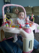 Photo: Still too short for the bouncer, but it keeps her off her head!