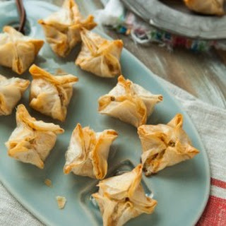 Cheddar, Blue Cheese and Bacon Stuffed Phyllo Mushroom Appetizers.