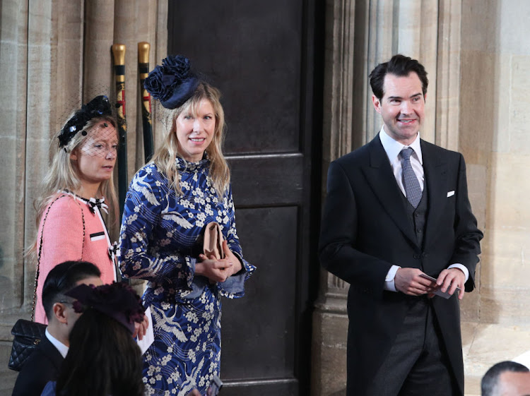 Comedian Jimmy Carr arrives at St. George's Chapel.