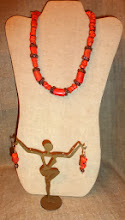 Photo: <BEREHYNYA> {Great Goddess Protectress} unique one-of-a-kind statement jewellery by Luba Bilash ART & ADORNMENT  # 126 CORAL BLISS ~ КОРАЛОВЕ ЩАСТЯ - coral, copper, rose gold vermeil $130/set SOLD/ПРОДАНИЙ