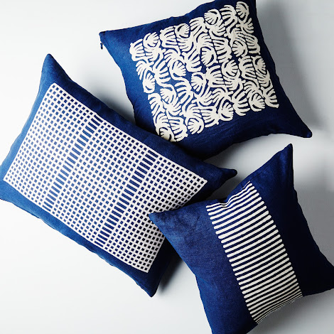 Indigo Dyed Linen Pillows