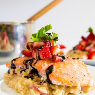 Strawberry Brown Rice Risotto with Slow Baked Salmon.