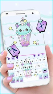 Kitty Bubble Tea Keyboard Background 1