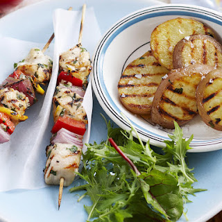 Herbed Chicken Kebabs with Grilled Potatoes.