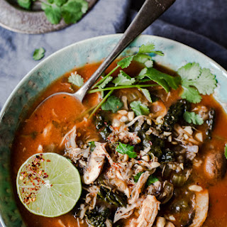 Slow Cooker Thai Chicken and Wild Rice Soup.