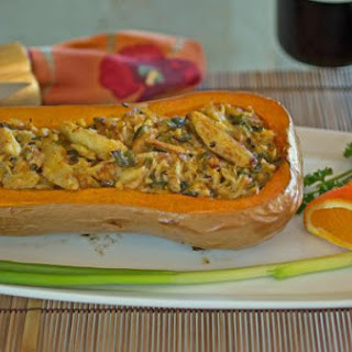 Orange Flavored Crab Stuffed Butternut Squash.