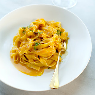 Tagliatelle with Fennel in White Wine-Pumpkin Sauce.