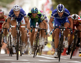 Photo: Gert Steegmans of Belgium, right, and his compatriot Tom Boonen, left,  sprint towards the finish line of the second stage of the 94th Tour de France cycling race between Dunkirk, France, and Ghent, Belgium, Monday, July 9, 2007. Steegmans won the stage and Boonen placed second. (AP Photo/Alessandro Trovati)