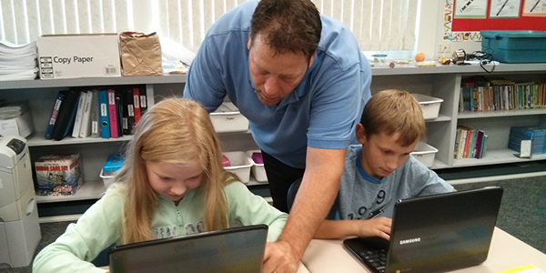 Students using Chromebooks in the classroom