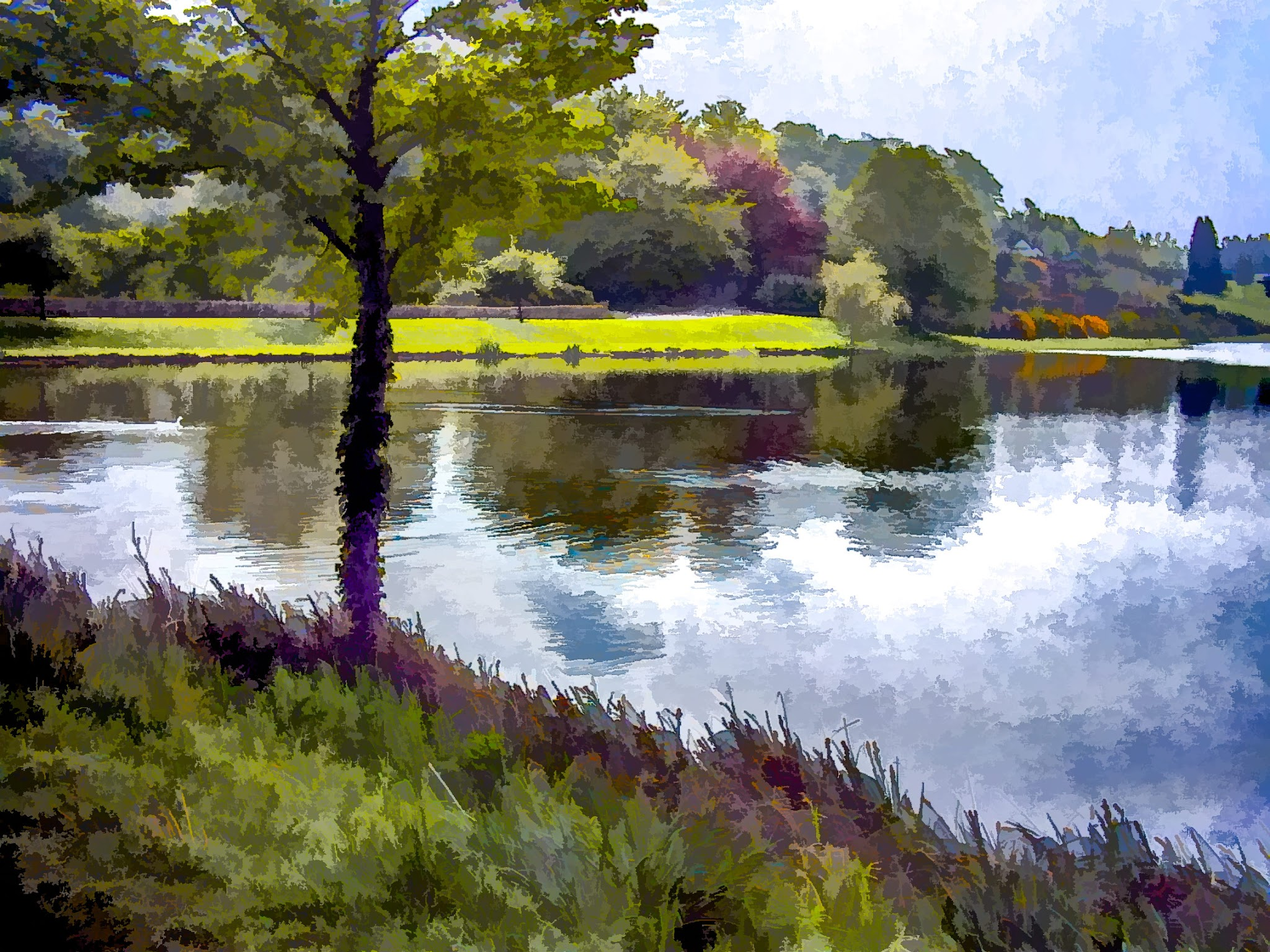 Photo: Water At Leeds Castle Digital watercolor  The original photo was OK. There's a version of it already in the album done up about as well as it can be as a straight photo. This version is what I got by running it through #TopazSimplify4 with a bit of other adjustment layering.  #Travel  #England  #LeedsCastle  #Watercolor