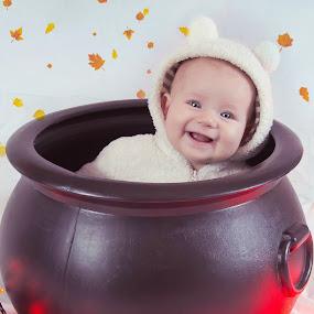 Peekaboo by Jenny Hammer - Babies & Children Babies ( lights, girl, baby, cute, halloween,  )