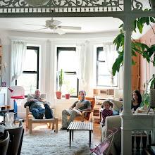 Photo: title: Lisa & Peter Davis, Alex & Enna Sherwin, Brooklyn, New York date: 2011 relationship: friends, art, met at Hampshire College years known: Lisa 20-25, Alex 0-5