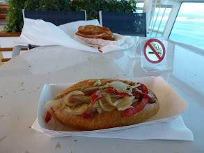 Photo: variety of tasty hotdogs and sausage are available all afternoon free to everyone