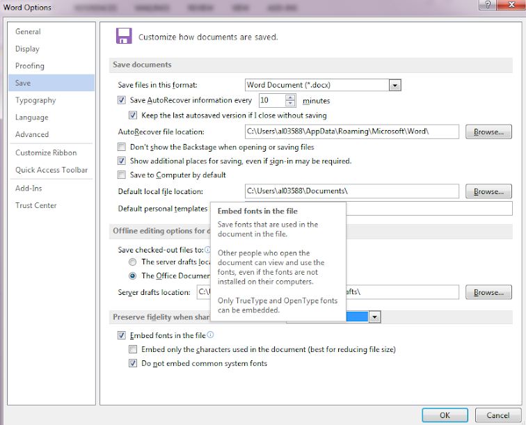 Microsoft Word embed fonts settings