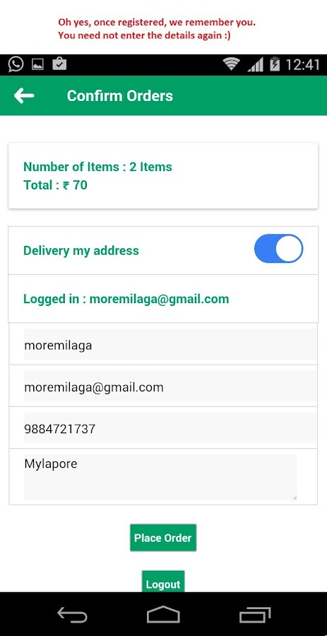 Moremilaga  Home Food Ordering- screenshot