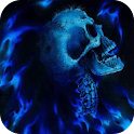 Skull in blue fire live wp icon