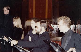 Photo: Nov. 1994: Rollins College; Mannerist Mania concert performed for the statewide American Choral Directors Association. David Childs, Solveig Fretheim, Becky Lister, Tim Watkins, David Walker.