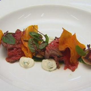 Rare Seared Beef fillet with Horseradish Cream Baby Turnips and Sweet Potato.