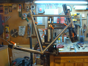 Photo: The down tube, top tube and chainstays are all mitered an dry fit in the fixture.