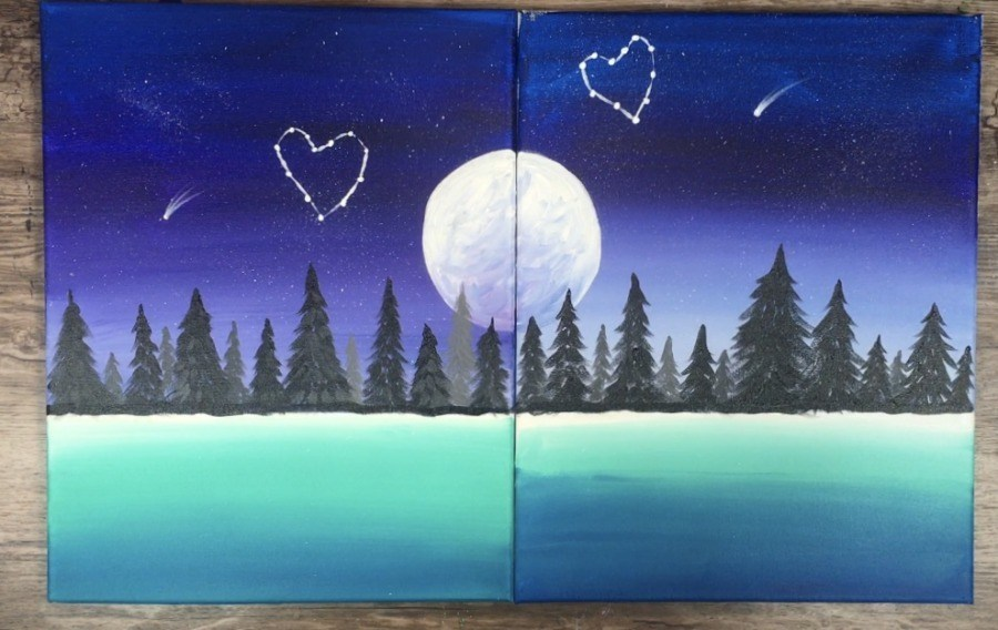 couples painting step by step tutorial
