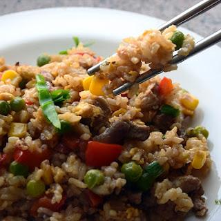 Chinese Pork Stir Fry Rice {Healthy version}