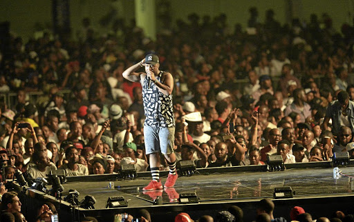 Cassper Nyovest sports expensive Maison Margiela sneakers at his 'Fill Up The Dome' concert in October 2015 at the TicketPro Dome in Johannesburg.