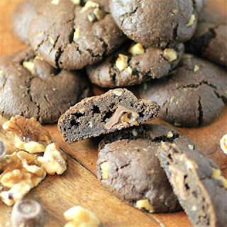 Chocolate Walnut Caramel Stuffed Cookies