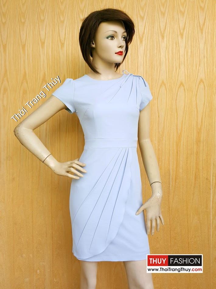 Váy công sở thiết kế dáng bút chì xếp ly chéo V458 Thời Trang Thủy