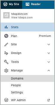 On the left My Site navigation pane,  Manage > Domains is selected.